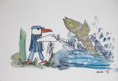 TimpeTe - Illustration - Fischer, Fisch und Möwe von PiepShow  auf DaWanda.com