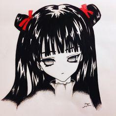 Sad girl anime  Black ink some red