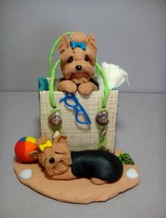 polymer clay yorkshire yorkie terrier sculpture beach by Laurie Valko, via Flickr