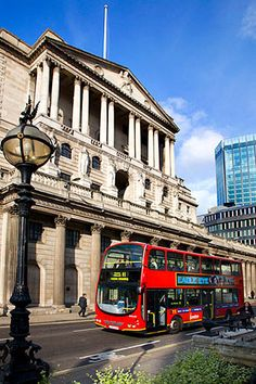 London Bus at The Bank of England, Threadneedle Street, London