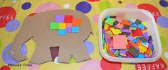 Resultat d'imatges de elmer silueta Indoor Activities, Toddler Activities, Toddler Crafts, Crafts For Kids, Elmer The Elephants, Sensory Art, Kindergarten Reading, Project Nursery, Conte