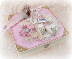ELITE4U Toni PREMADE SCRAPBOOK KEEPSAKE BOX GIRL BABY BALLET WEDDING FLOWER