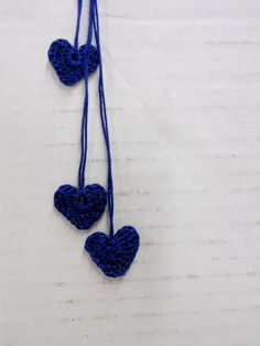 Mini Crocheted Hearts Sweetheart Embellishments Navy by StitchKnit