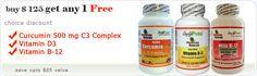 buy $ 125 get any 1 Free Curcumin 500 mg -Vitamin D3 -Vitamin B-12