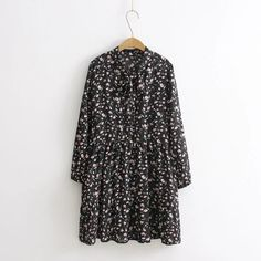 Plus size Cute black Print Chiffon spring long sleeves dress women 2017 new fsahion High waist Bow vestidos Two pieces dresses