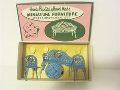 Image detail for -Dollhouse 1950s Miniature Cast Metal JAPAN 4pc LR Parlor Set NIB Hand ...
