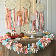 Dreamcatchers make a great party backdrop and can be used as nursery or room decor after the party!  Ask about custom packages!