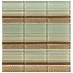 Merola Tile Tessera Meridian Stratus 12-1/4 in. x 11-3/4 in. Glass Mosaic Wall Tile
