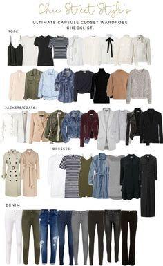 The Ultimate Capsule Closet Checklist. White blouse olive green jeans leather or suede jacket light khaki or cream trench coat chambray shirt destroyed denim jeans. Capsule Outfits, Fashion Capsule, Mode Outfits, Fall Outfits, Outfit Winter, Travel Outfits, Airport Outfits, Summer Outfits, Cheap Outfits
