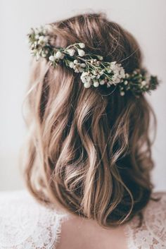 Flower Crown of Ivory Rose and Green Fern and Babies Breath Boho Wedding Floral Halo Wreath Floral Hair Wreaths Bridal Woodland Wedding Simple Flower Crown, Flower Crown Wedding, Wedding Hair Flowers, Bridal Crown, Bridal Flowers, Flowers In Hair, Floral Wedding, Flower Crowns, Hair Wedding