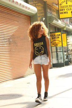 graphic tee, denim, shorts, denim shorts, sneakers, grunge