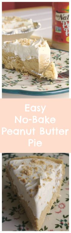 Easy No-Bake Peanut Butter Pie - a simple peanut butter pie made with only 5 ingredients! It's the perfect dessert for cook-outs and parties!