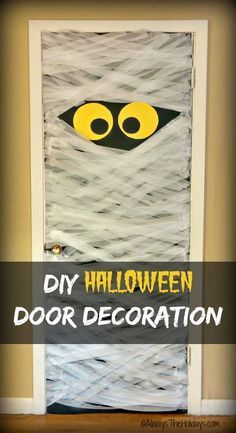 This DIY Mummy Door Decoration will delight your Trick or Treat Visitors.  Makes a great prop for a Halloween party too.