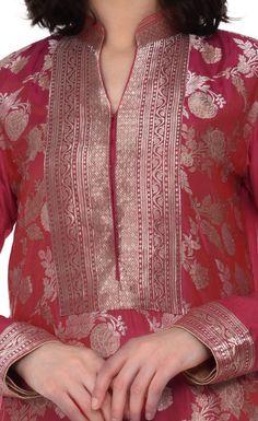 Red Shot Pink Sona Roopa Kadhwa Zari Hand Woven Kurta With Skirt Silk Kurti Designs, Salwar Neck Designs, Churidar Designs, Kurta Neck Design, Kurta Designs Women, Kurti Designs Party Wear, Chudidhar Neck Designs, Neck Designs For Suits, Neckline Designs