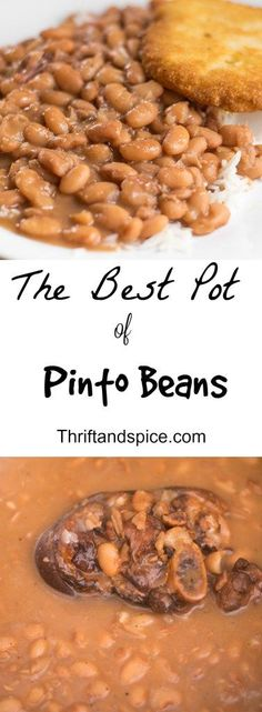 These are the best pot of pinto beans you will ever have! They are an excellent option for dinner as they are cheap and tasty! (Asian Recipes For Dinner) Slow Cooker Recipes, Crockpot Recipes, Cooking Recipes, Pinto Bean Recipes, Beans Recipes, Pinto Beans Indian Recipe, Recipe For Pinto Beans And Ham, Southern Pinto Beans Recipe, Pinto Beans And Rice