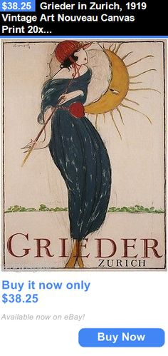 Arts And Crafts: Grieder In Zurich, 1919 Vintage Art Nouveau Canvas Print 20X28 BUY IT NOW ONLY: $38.25