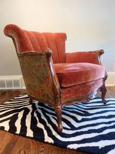 Rust Channel Back Chair by FabulousPieces on Etsy Dream Furniture, Painted Furniture, Refinished Furniture, Love Chair, Western Furniture, Barrel Chair, Upholstered Chairs, Armchair, Interior