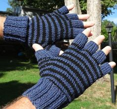Mens half finger striped gloves are handknit in black and blue 100% washable…