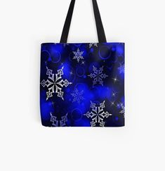 Vibrant royal blue background with silvery white snowflake motif. • Millions of unique designs by independent artists. Find your thing. White Snowflake, Snowflakes, Large Bags, Small Bags, Christmas Themes, Christmas Gifts, Royal Blue Background, Medium Bags, Cotton Tote Bags