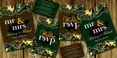 pictures for camoflauge center pieces | Mr. & Mrs. Hunting Camo Invitations - Suites with RSVP Cards