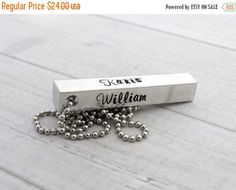 ON SALE 4-sided Personalized bar necklace, hand stamped necklace, name necklace,  personalized jewelry
