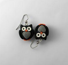 Owl Earrings - Black | by intraordinary