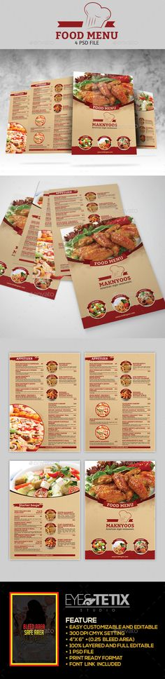 Food Menu Flyer Template Design Download Httpgraphicrivernet - Menu brochure template
