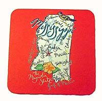 Mississippi Map Coasters, $8.50...really cute & would be cute in a small frame and given as a gift to a visiting houseguest from out of town.
