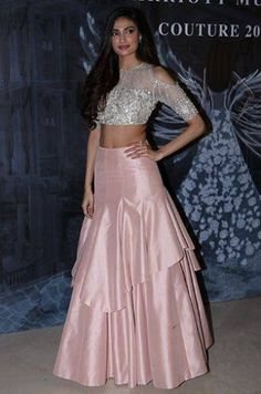 36 indian lehenga choli designs for pre wedding functions 15 Indian Gowns Dresses, Indian Fashion Dresses, Indian Designer Outfits, Choli Designs, Lehenga Designs, Blouse Designs, Indian Wedding Outfits, Bridal Outfits, Designer Party Wear Dresses