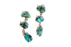 Trend tracking: turquoise. Melissa Joy Manning's limited-edition 14-karat yellow gold turquoise free-form three-drop earrings ($690)