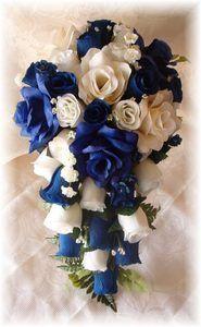 8pc Dark Royal Blue Cream Ivory Silk Wedding Flowers Bridal Bouquet Roses