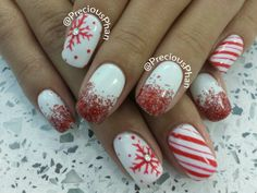 Ombre, snowflakes,  candy cane, christmas nails