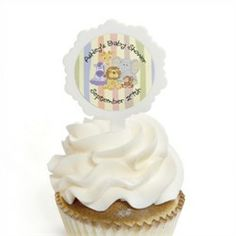 Zoo Crew - 12 Cupcake Picks & 24 Personalized Stickers - Baby Shower Cupcake Toppers