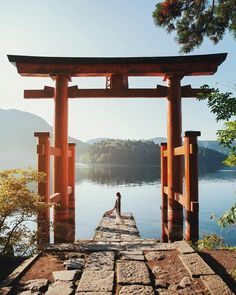 A peaceful sunrise moment at Hakone Shrine. We rented a car from Tokyo and drove 1.5hrs to Hakone - it's a road trip not to be missed x #dreainjapan #hakone #japan