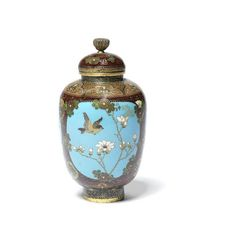 A cloisonné enamel ovoid jar and cover By Namikawa Yasuyuki, early Meiji Period