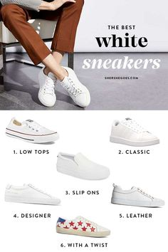 white sneakers white sneakers the best white sneakers - you need at least 1 pair of these in your capsule wardrobe! Clean and classic, white sneakers are a wardrobe staple! White Slip On Sneakers, White Sneakers Outfit, White Tennis Shoes, Tennis Shoes Outfit, White Fashion Sneakers, Fashion Black, Fashion Fashion, Street Fashion, Adidas Stan Smith Sneakers