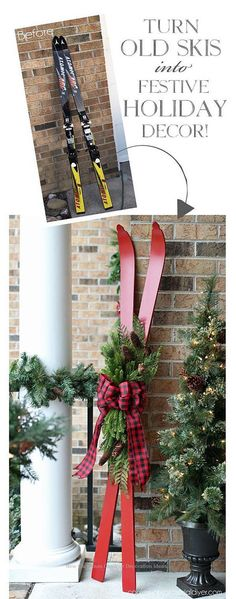 Turn old skis into a festive holiday decor made of confessions … - DIY Christmas Decoration Noel Christmas, Country Christmas, Winter Christmas, Christmas Wreaths, Christmas Island, Christmas Porch Decorations, Cabin Christmas Decor, Christmas Movies, Christmas Quotes