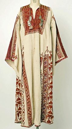 Middle Eastern Caftan of Cotton and Embroidered Silk