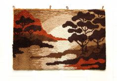XL Mid Century Wall Rug SUNSET Tapestry 60s 70s - Wall Art Hanging Germany Brown Space Age Modern Wool Eames mcm