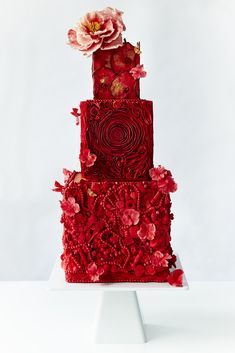 All Red wedding cake with rosettes by Dawn Welton Cakes on satinice.com!