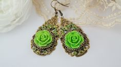 Green rose long earrings ethnic earrings boho earrings floral earrings gypsy earrings long earrings sparkling earrings clay earrings
