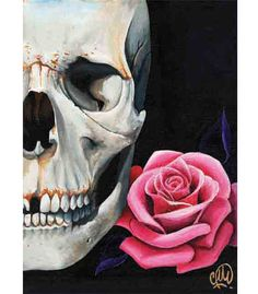 Rose & Skull Art Print by Artist Christina Ramos. Skull Rose art print by artist Christina Ramos. Made by Black Market Art Company. Art print size x x cm). Artwork Prints, Canvas Art Prints, Fine Art Prints, Crane, Christina Ramos, Skull Wall Art, Skull Artwork, Skull Head, Skull Pictures