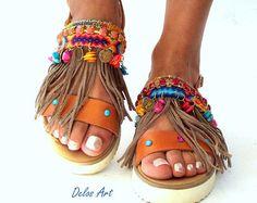 Boho Sandals, summer shoes, Handmade Sandals, Greek Sandals, brown sandals,  hippie sandals, Bohemian sandals