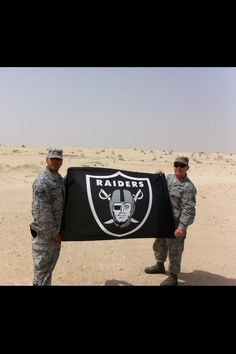Oakland Raider flag in Afghanistan