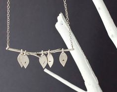 The Original Family Tree Initial Necklace - Custom Lower Case Initials with Five Leaves