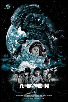 Alien poster by Vance Kelly Alien Film, Alien Movie Poster, Alien 1979, Aliens Movie, Tv Movie, Sci Fi Movies, Scary Movies, Horror Movie Posters, Film Posters