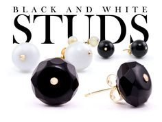 Subtle & Trendy: Black & White studs in pearl, agate, & onyx set in 14ky