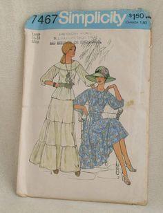 Simplicity 7467 Uncut Misses Size 16-18 Skirt Blouse Vintage 70' Sewing Pattern  #Simplicity