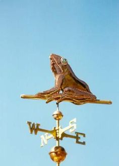 Sitting Frog Weather Vane by West Coast Weather Vanes. This handcrafted Sitting Frog weathervane consists of an all copper frog.