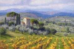 """Above Florence by June Carey LIMITED EDITION CANVAS Image size: 38""""w x 25""""h."""